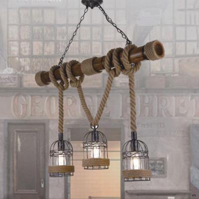 Đèn thả dây thừng quấn quanh thanh gỗ nghệ thuật 3 bóng đèn DTKDD1019