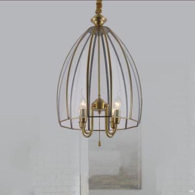 Đèn thả đồng nguyên chất và chao đèn bằng thủy tinh giá rẻ nhất D9022/4