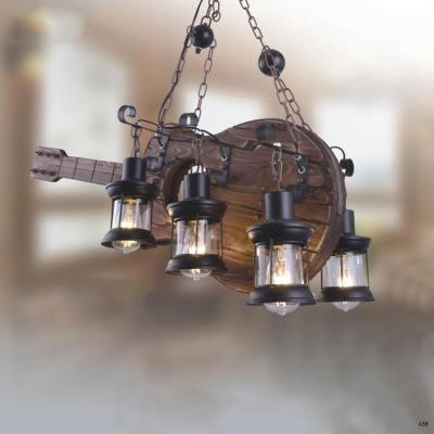 Đèn thả ghita gỗ nghệ thuật kèm 4 bóng đèn DY068-6