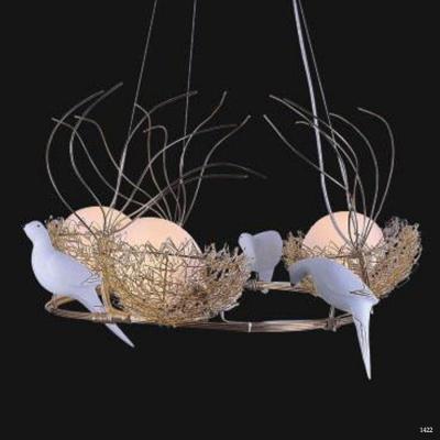 Đèn thả hình 3 giỏ trứng và 3 con chim D/3+3