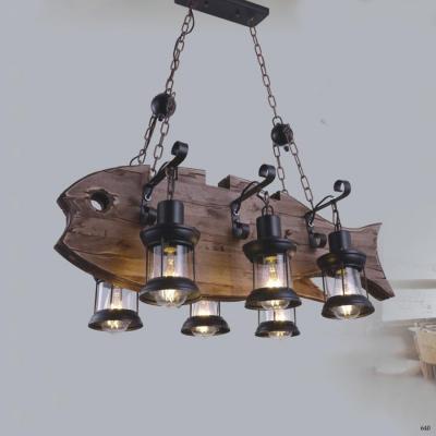 Đèn thả nghệ thuật hình con cá gỗ kèm 6 bóng đèn DY069-6