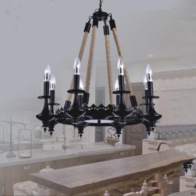 Đèn thả nghệ thuật kiểu dây thừng đèn nến giá rẻ nhất DTK161H/8