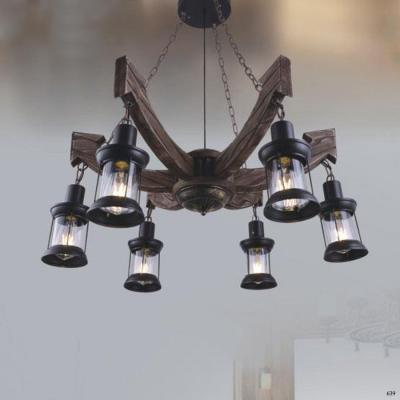 Đèn thả nghệ thuật thân gỗ 6 chấu 6 bóng đèn DY067-6
