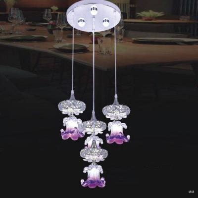 Đèn thả thuỷ tinh cap cấp 4 bông hoa tím DCT-1017-4
