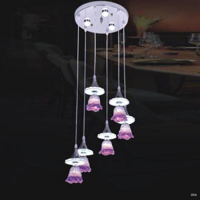 Đèn thả thuỷ tinh cap cấp 6 bông hoa tím DCT-1020-6
