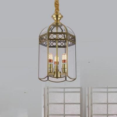 Đèn thả vàng đồng cao cấp chao đèn bằng thủy tinh giá rẻ nhất D9035/3