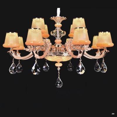 Đèn chùm trang trí thân đèn bằng hợp kim cao cấp chống rỉ và chóa đèn bằng pha lê khắc họa tiết sang trọng hiện đại 9072-12