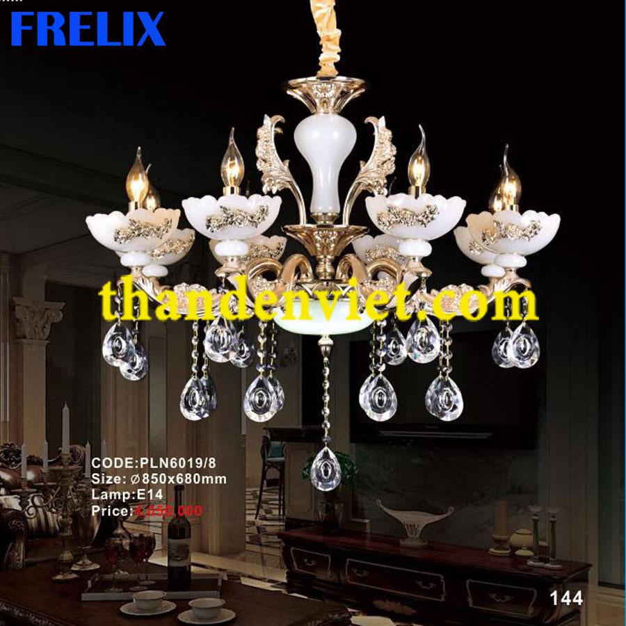 Đèn chùm pha lê nến trang trí phòng khách hiện đại PLN6019/8