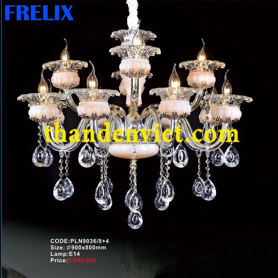 Đèn chùm pha lê nến trang trí phòng khách đẹp PLNY9036/8+4